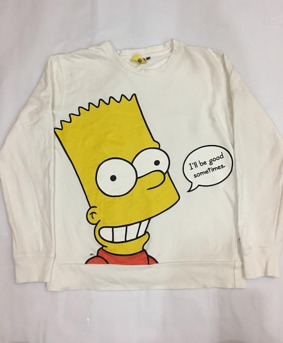 Medium Bart Simpson Sweatshirt White Simpson Jumper Sweater Size M #S525 iZGQTnZYrP