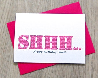 Shhh Secret Age Card – Personalised Birthday Card – Card for Husband Wife – birthday card for friends – card for friends - special age card