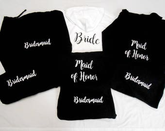 7 BRIDESMAID Hoodies, 7 Bachelorette Party Hoodies, 7 Bridal Hoodies, 7 Wedding Party Hoodies, 7 Zip Up Hoodies, Set of 7 Bridesmaid Jackets
