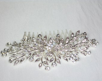 Rhinestone hair comb, bridal hair comb, wedding hair comb, bridal tiara, prom tiara, Quenceanera tiara, rhinestone tiara, hairpiece, tiara