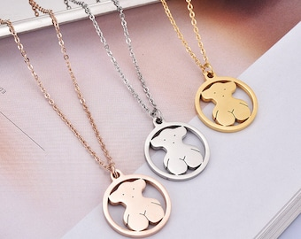 Rose gold / Gold / White gold Filled Cute Hoop Teddy Bear Charm Pendant Necklace