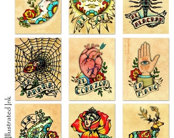 Old School Tattoo Art Prints Mexican Loteria SET of 9 Designs - 5 x 7, 8 x 10 or 11 x 14