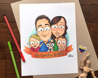 Custom Family Portrait, Family Illustration, Custom Family Gift, Family Portrait - Digital File only