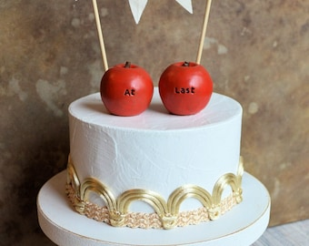 Wedding cake topper... red at last apples and fabric LOVE banner included...fall autumn woodland boho shabby chic table decor, package deal