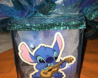 "Stitch themed lighted glass block 6"" high"