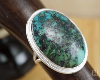 Natural Tibetan dark blue-green Turquoise ring Sterling silver Unique jewelry large oval stone December birthstone for men women size 8