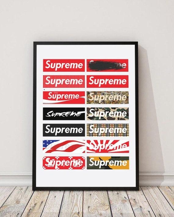 Cartel en vidrio negro marco Supremo de los 30x40cm Kanye