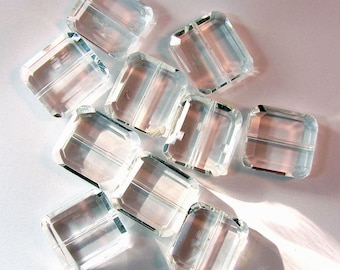 Crystal Clear Rectangle Glass Beads