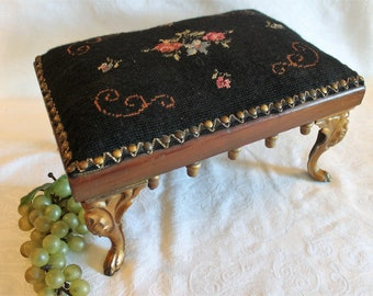 Antique Victorian Needlepoint Foot Stool with Cast Iron Legs and Black / Floral Covering in Great Condition