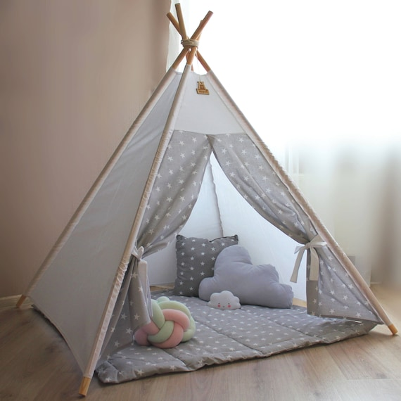 Teepee Kids teepee tent gray stars Childrens teepee Baby shower Gift Playhouse Nursery decor Play tent Baby gift Princess wigwam Teepees : tent baby - memphite.com