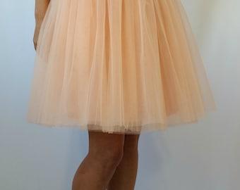 "Peach Women Tulle Skirt, Knee length Tutu Skirt, Princess Skirt,  Wedding Skirt -  ""Choose to be me' / EXPRESS SHIPPING / MD10017"