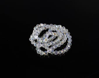 1 strand of approximately 95 beads faceted glass clear and Electroplate +/-4mm LBP00471