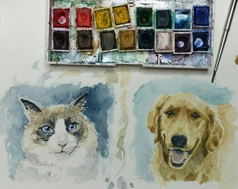 Pet Portrait in Watercolor. Gorgeous Watercolor Pet Portrait. Free Shipping & portion of Proceeds Donated to Dumb Friends League!