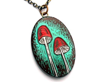 Rustic Woodland Mushroom Necklace, Turquoise and Red Mushroom Pendant, Toadstool Necklace, Birthday Gift, Gift for Her, Girlfriend Gift