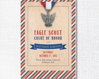 Eagle Scout Court of Honor ceremony program cover - DIGITAL download printable program cover