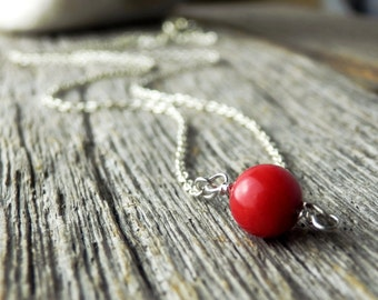 Simple Red Coral Necklace. Silver Coral Necklace. Dainty Silver Plated Chain. Simple Jewelry. Minimalist. Simple Red Coral Necklace.