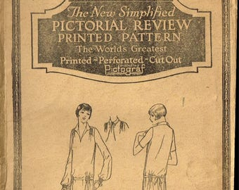 Antique PRINTED Pattern 3306 Pictorial Review Rare Fabric Material Sewing Flapper Dress Frock Vintage 1900's Size 40 Bust