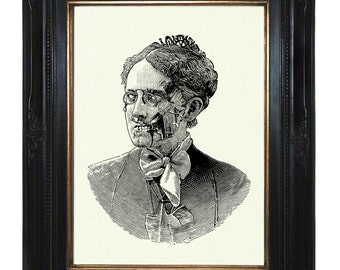 Zombie Nanny Mary Poppins Lady Victorian - Steampunk Art Print Portrait Halloween Gothic
