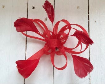 Red Feather Fascinator