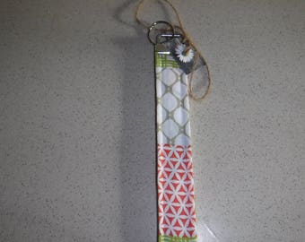 Orange, Green and White Muti-Pattern Key Fob, Key Chain, Key Lanyard