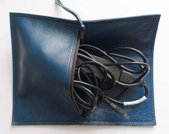 Up-cycled Leather Cable Bag (Pacific Teal Q300)