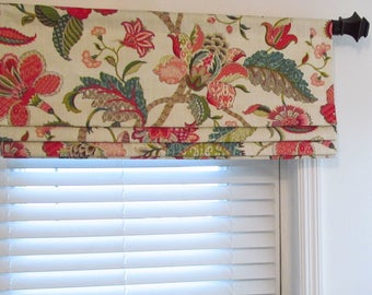 Faux Roman Shade Jacobean Floral Valance P.Kaufmann Finders Keepers  Raspberry Custom Sizing Available!