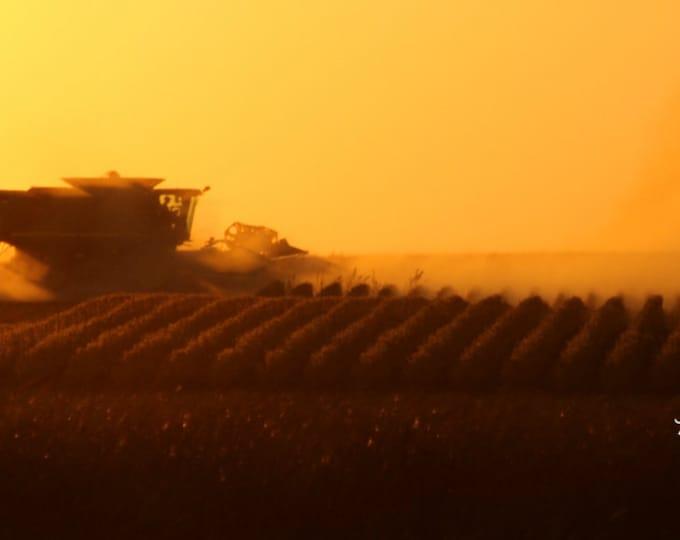 South Dakota Harvest Sunset Photography Harvest Photo Farming photo John Deere Combine Sunset Photo Metal Photo Print by Nicole Heitzman