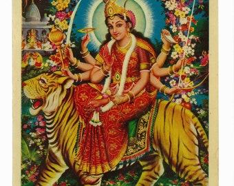 Goddess Ambaji, vintage devotional hindu print