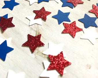 Set of 100 / Patriotic Star Confetti / Table Scatter / Fourth of July / Memorial Day / Red White Blue