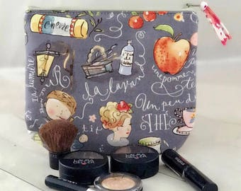 Clearance! Paris motif medium makeup bag, medium zipper pouch zippered cosmetic bag