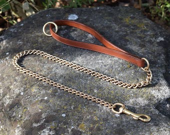 1 m Chain Dog Leash with Flat Leather Handle - size M  | 8 colors available | Handmade & Hand Stitched in Italy | Solid brass chain
