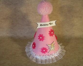 Children's Pink Felt Birthday Hat with Pink Pom Pom, Flowers, Fairy and Trim