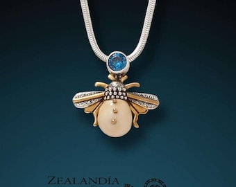 Sterling Silver Bee Pendant - Blue Topaz and Hand Carved Tagua