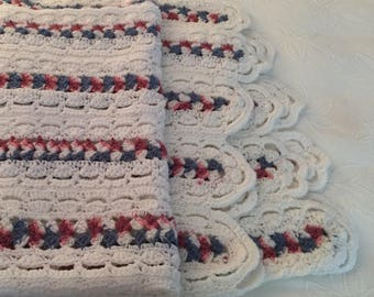 Big Warm Channel Crocheted Throw with Soft Red and Heather Blue on White Measures 4'x6'