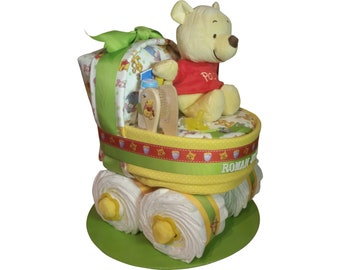 Winnie the Pooh Diaper Cake Bassinet Neutral Baby Shower Boy Girl Nursery Gift