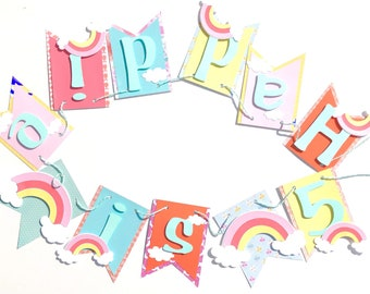 Rainbow name banner, rainbow banner, rainbow birthday banner, rainbow party decorations, age banner