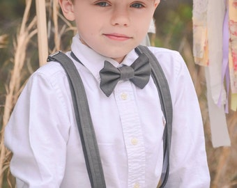 Linen Ring Bearer 3 Piece Set, Ring Bearer Bow tie, Suspenders, and Newsboy hat. Wedding Outfit for Ringbearer