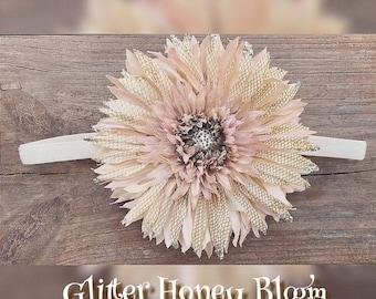 Gold/tan/sunflower/glitter/autumn/summer/flower/headband/baby/girl/honey