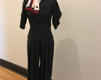 Vintage 1980s Front Ziper Jumpsuit with Pocket Detail