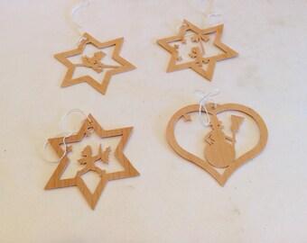 W German Hand Sawn Wood Ornaments
