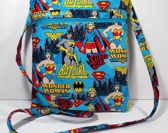 Wonder Woman Crossbody Bag with Zipper Cross Body Bag - Purse - Handbag - Supergirl - Batgirl