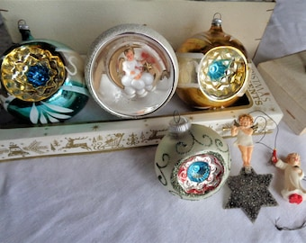 Vintage West German Christmas Ornament Lot Indents Diorama and Plastic Angels