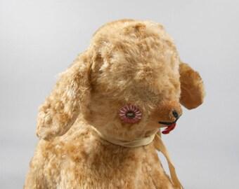 Vintage Rayon Plush Lamb Stuffed Toy With Pink Eyes