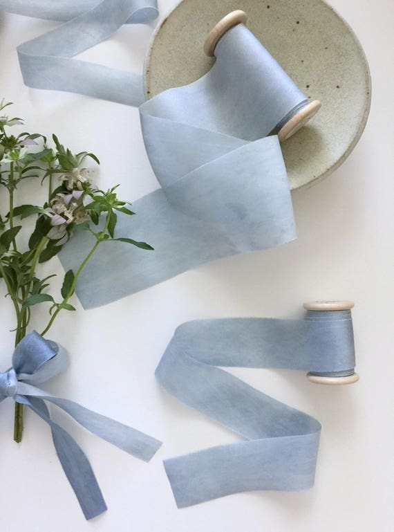 SKY BLUE Plant Dyed Silk Ribbon