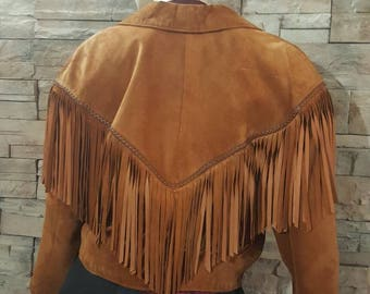 Western suede Leather fringe jacket/brown western coat/suede jacket /boho/hippie/festival jacket size medium/ cowboy/cosplay Prairie