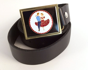 """Vintage 90s Western Square Dance Novelty Belt, Thick Black Leather with Enamel & Brass Buckle, L39"""", W3"""", Gift Ideas for Country Music Fans"""