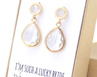 Clear Crystal / Gold Two Piece Teardrop Post Earrings - Clear and Gold Earrings - Clear Stud Earrings - Gold Bridesmaid Earrings - EB3
