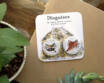 Disguises Pins - Set of 2 Pinback Buttons - Fox Pin - Raccoon Pin