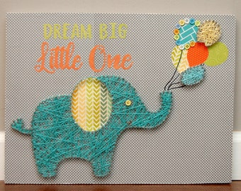 Elephant string art, nursery decor, paper covered wood, nail and string art, buttons, multicolored, baby shower gift