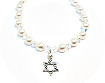 Star of David, Pearl Necklace, Crystal Necklace, Flower Girl Jewelry, Jewish Star, Pearls, Kids Necklace, Star of David Pendant, Hanukkah